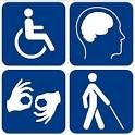 4 tiles with symbols for deaf, blind,wheelchair, mental imparemenr